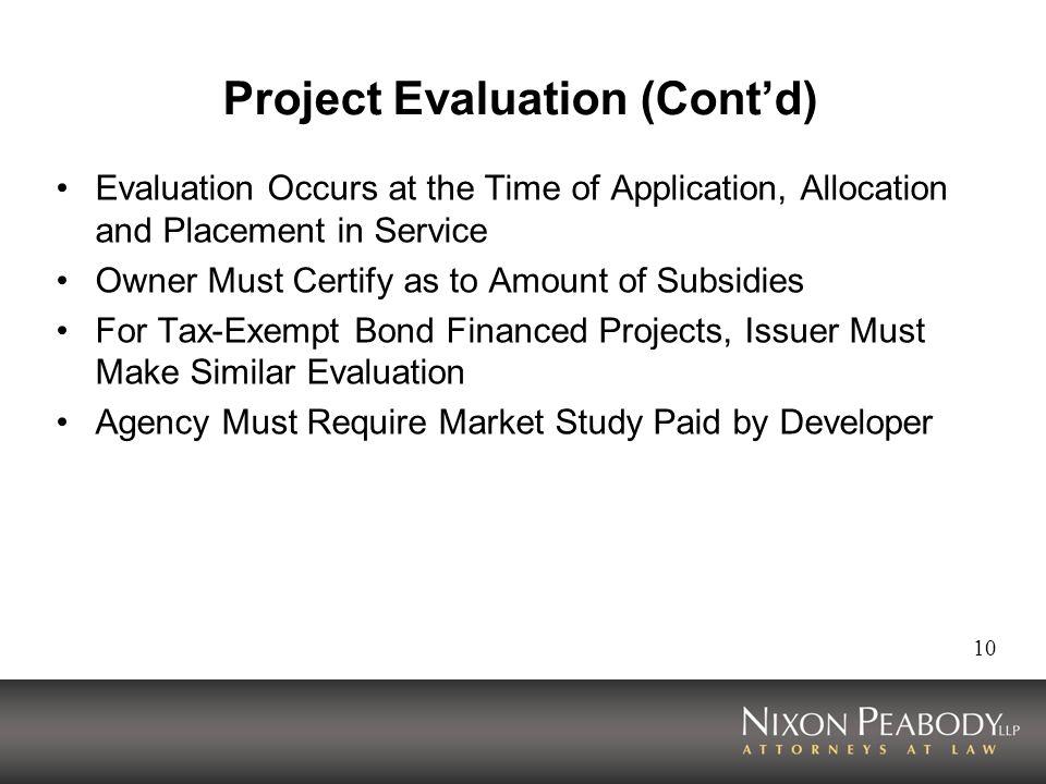 Project Evaluation (Cont'd)