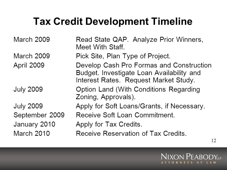 Tax Credit Development Timeline