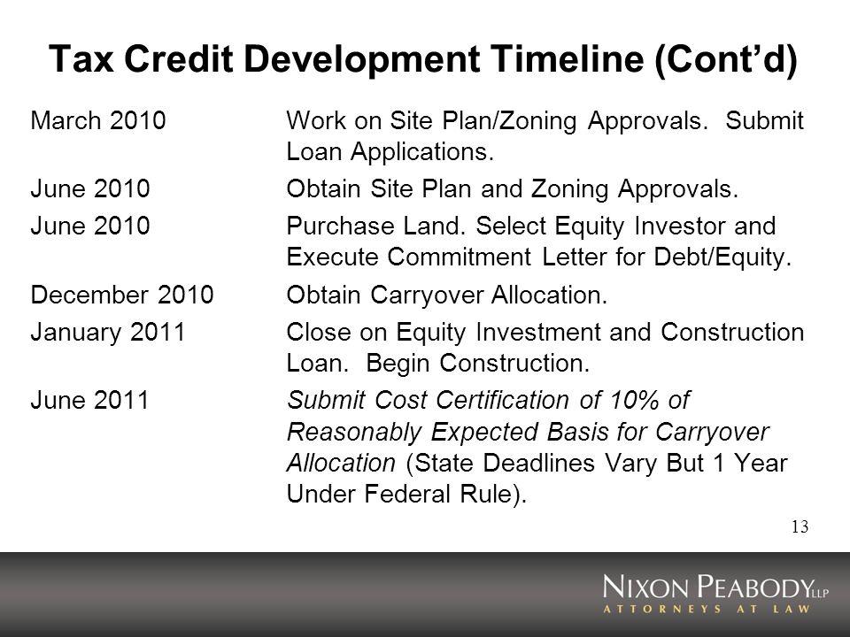 Tax Credit Development Timeline (Cont'd)