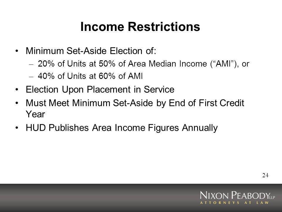 Income Restrictions Minimum Set-Aside Election of: