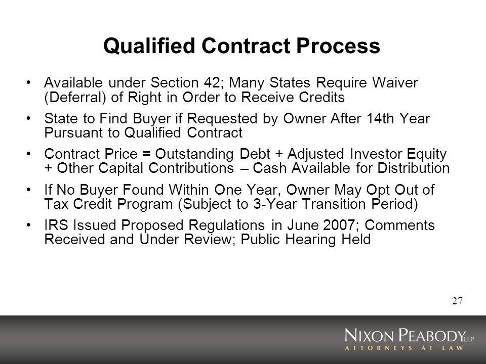 Qualified Contract Process