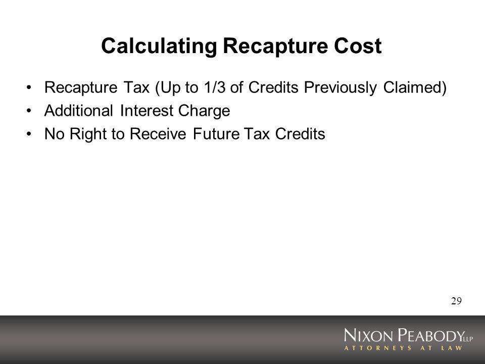 Calculating Recapture Cost