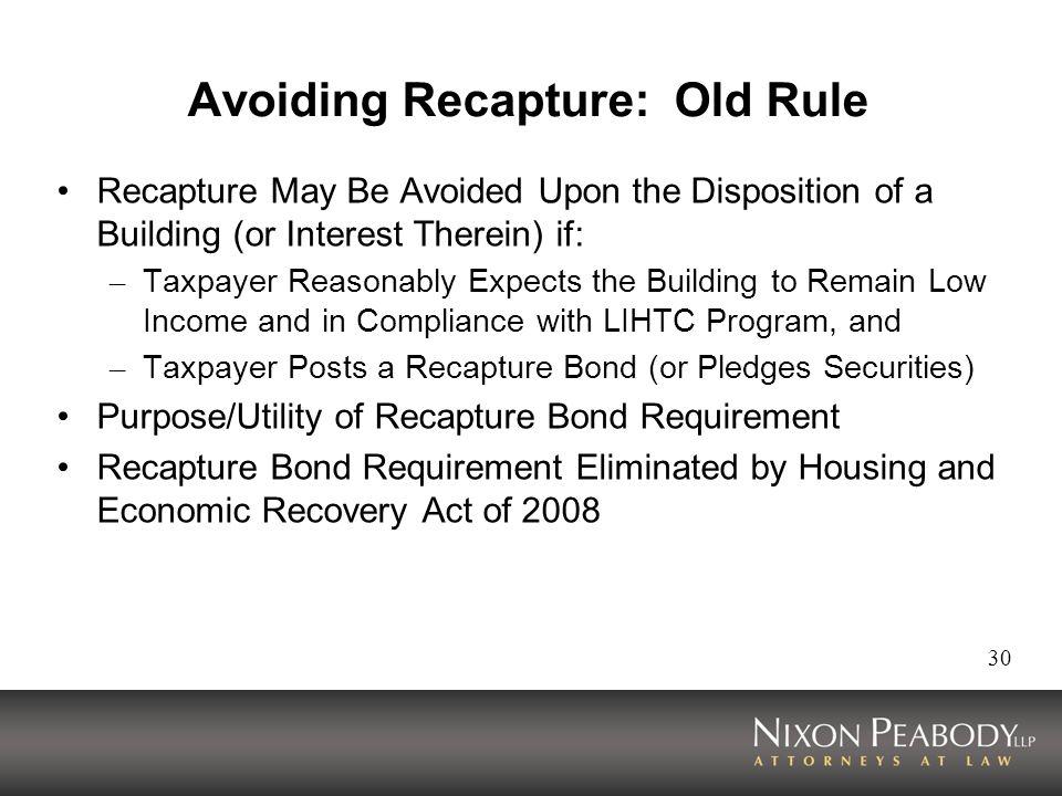 Avoiding Recapture: Old Rule