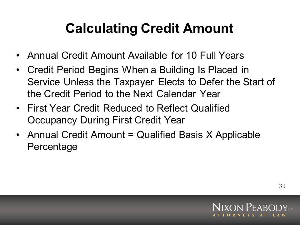 Calculating Credit Amount