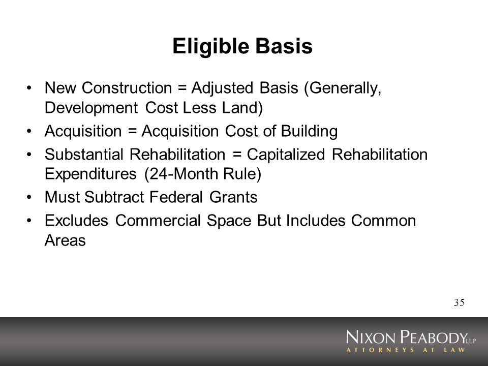 Eligible Basis New Construction = Adjusted Basis (Generally, Development Cost Less Land) Acquisition = Acquisition Cost of Building.