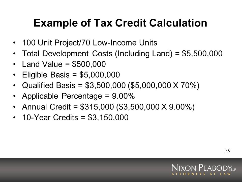 Example of Tax Credit Calculation