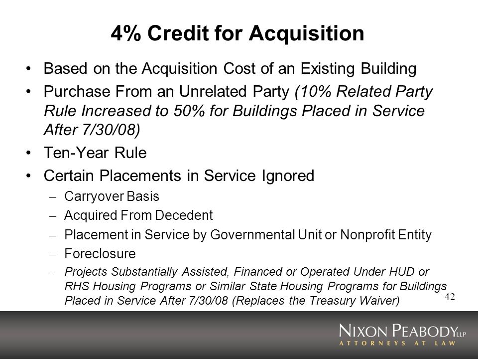 4% Credit for Acquisition