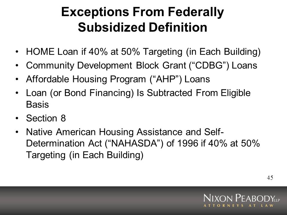 Exceptions From Federally Subsidized Definition