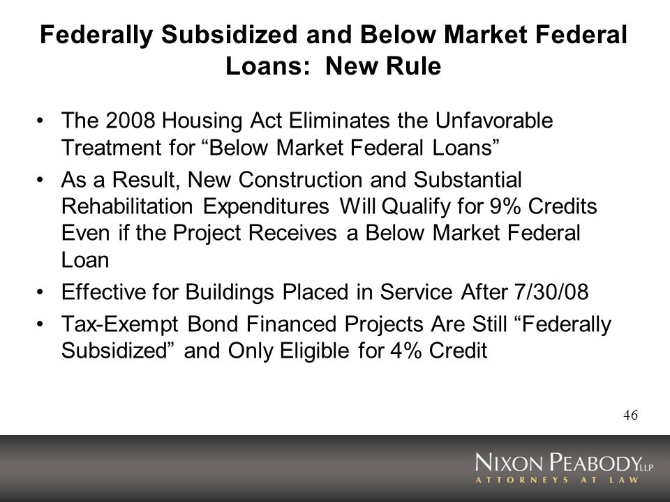 Federally Subsidized and Below Market Federal Loans: New Rule