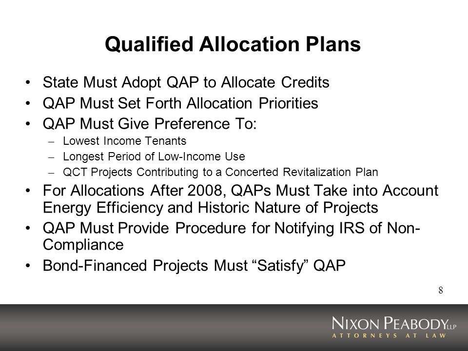 Qualified Allocation Plans