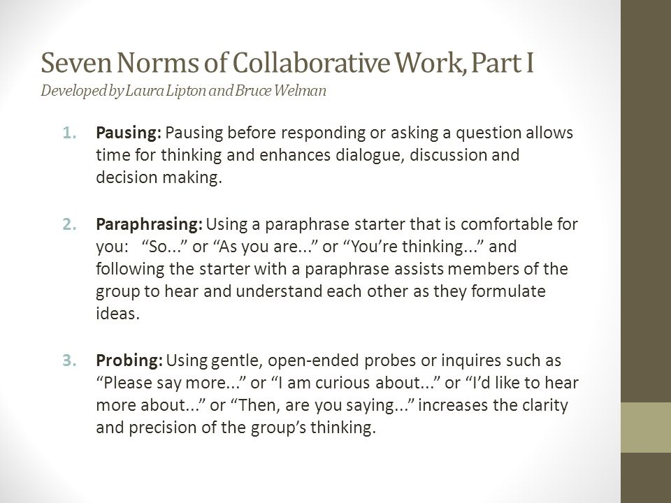 norms as a necessary part in group work and discussions Study groups are important 100 study guide • the norms of discussion that the group will documenting the ongoing study group work encourages.