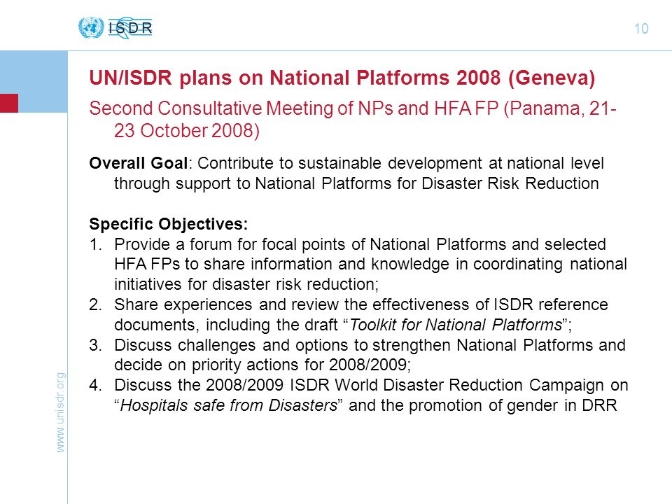 UN/ISDR plans on National Platforms 2008 (Geneva)