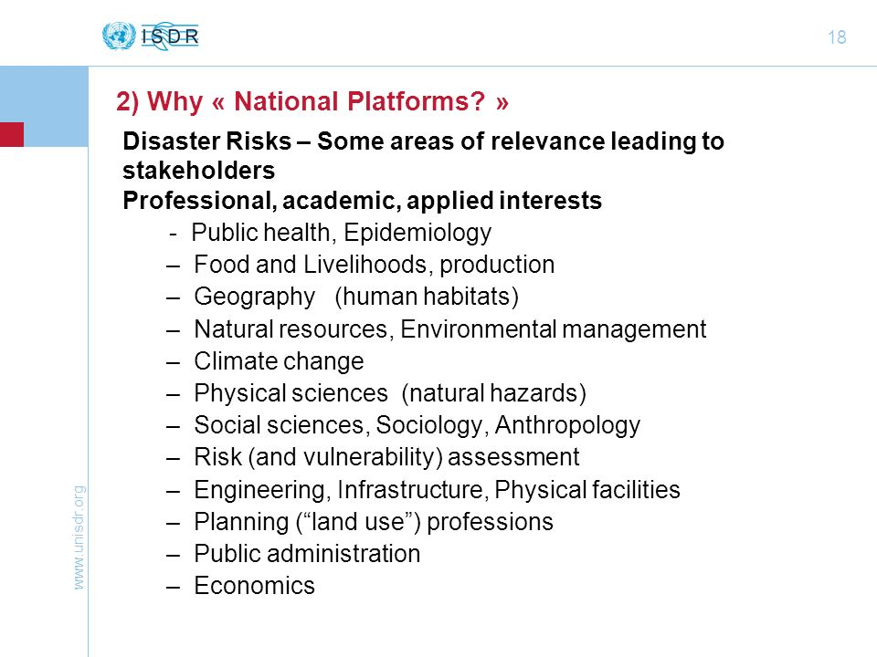 Disaster Risks – Some areas of relevance leading to stakeholders
