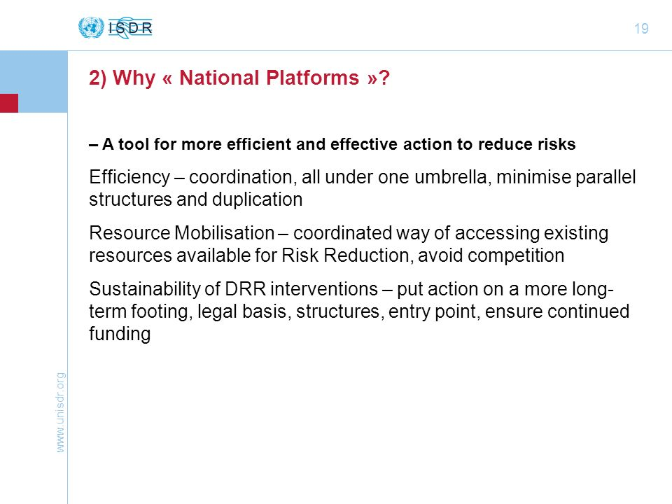 2) Why « National Platforms »