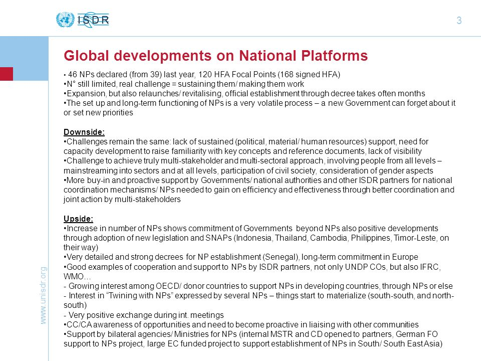 Global developments on National Platforms