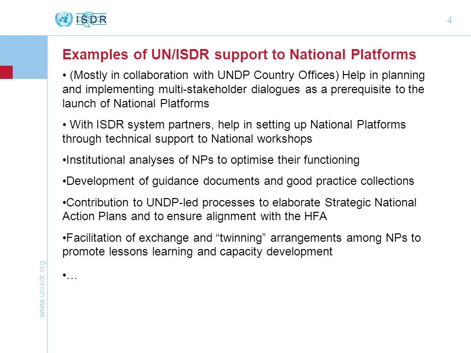 Examples of UN/ISDR support to National Platforms