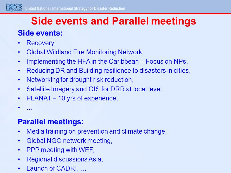 Side events and Parallel meetings