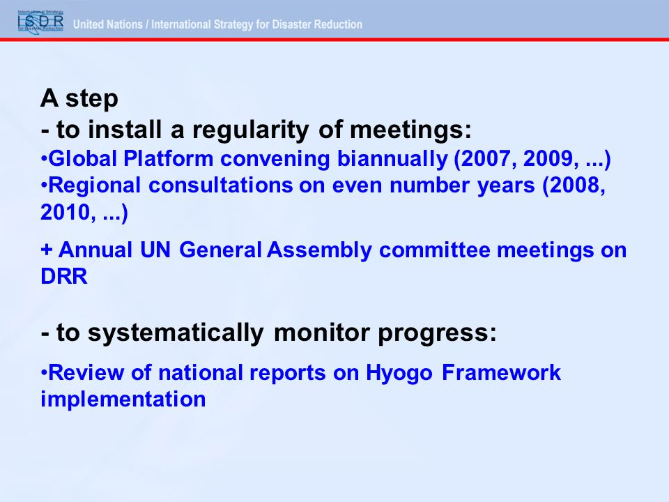 - to install a regularity of meetings: