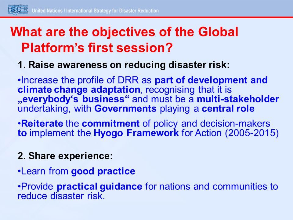 What are the objectives of the Global Platform's first session