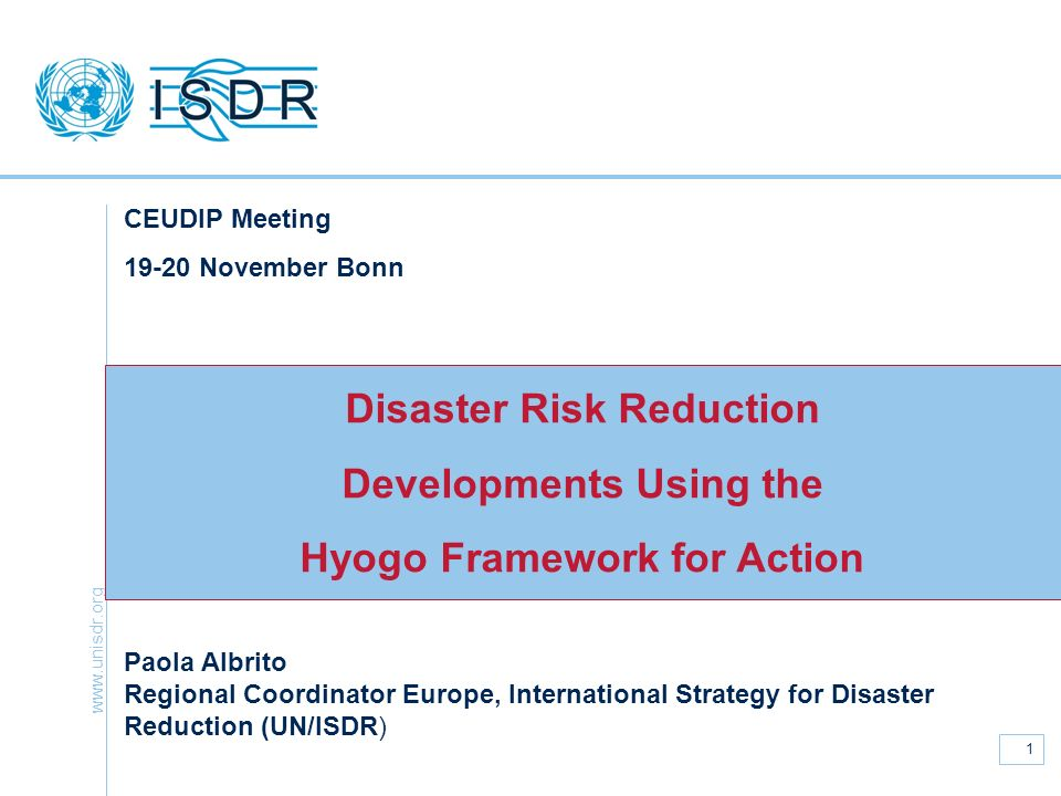 Disaster Risk Reduction Developments Using the