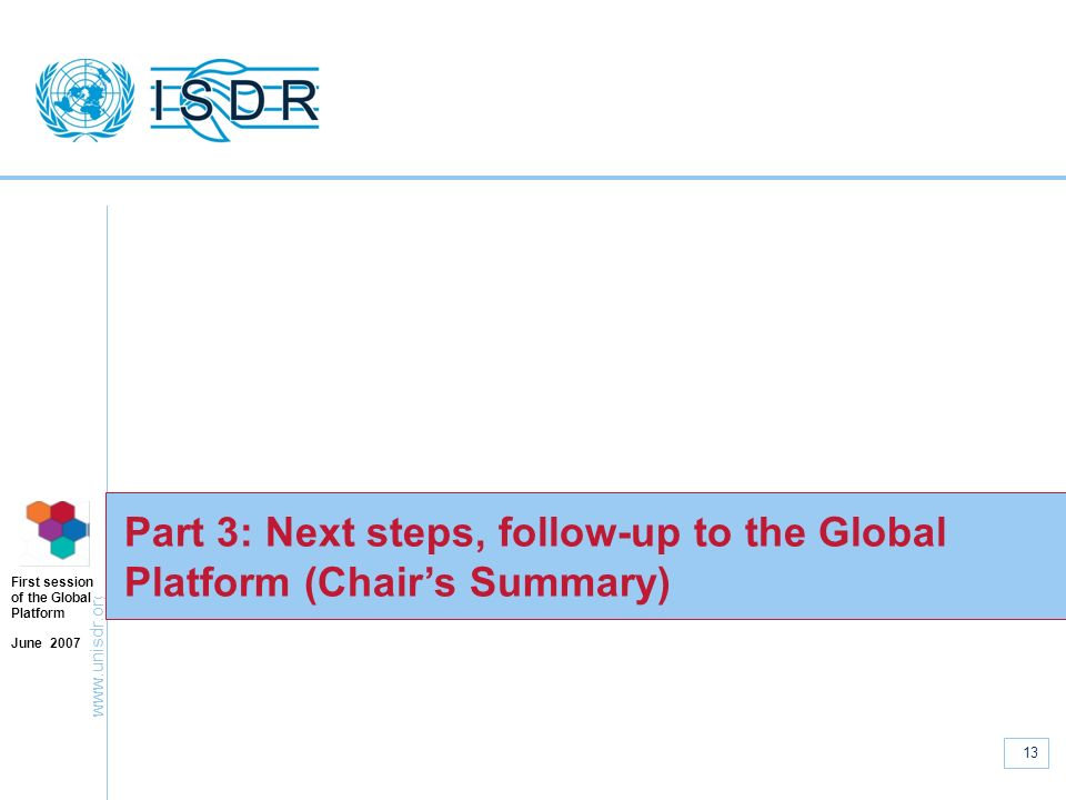 Part 3: Next steps, follow-up to the Global Platform (Chair's Summary)