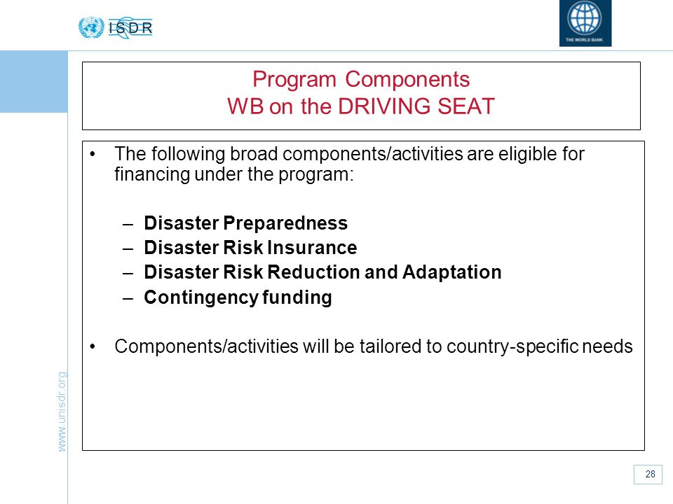 Program Components WB on the DRIVING SEAT