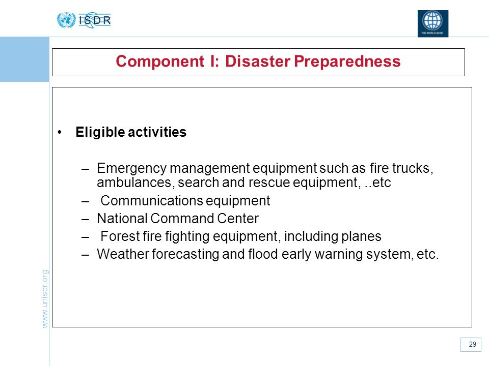 Component I: Disaster Preparedness