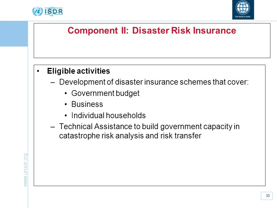 Component II: Disaster Risk Insurance
