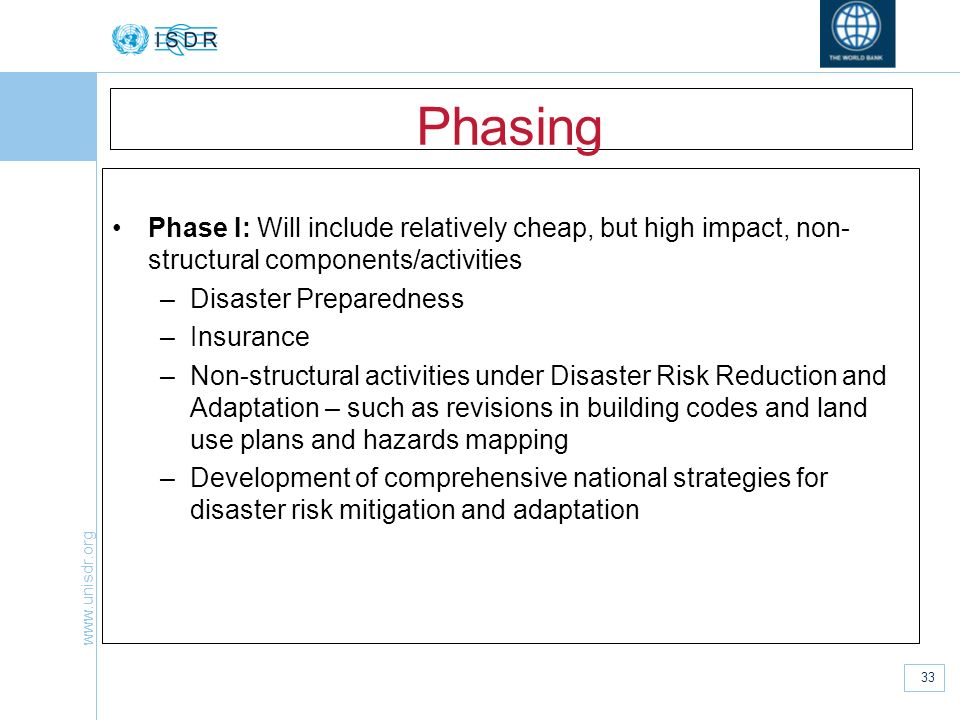 Phasing Phase I: Will include relatively cheap, but high impact, non-structural components/activities.