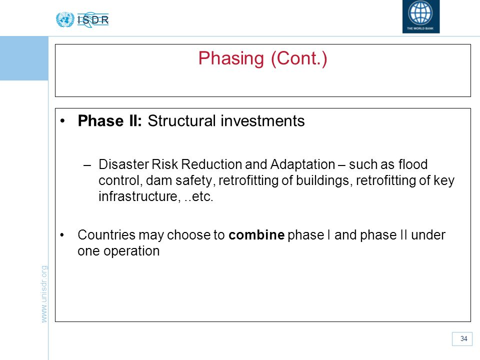 Phasing (Cont.) Phase II: Structural investments