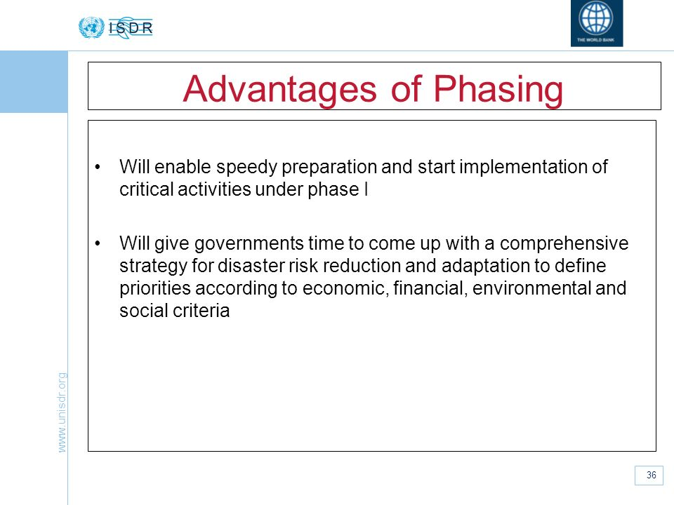 Advantages of Phasing Will enable speedy preparation and start implementation of critical activities under phase I.