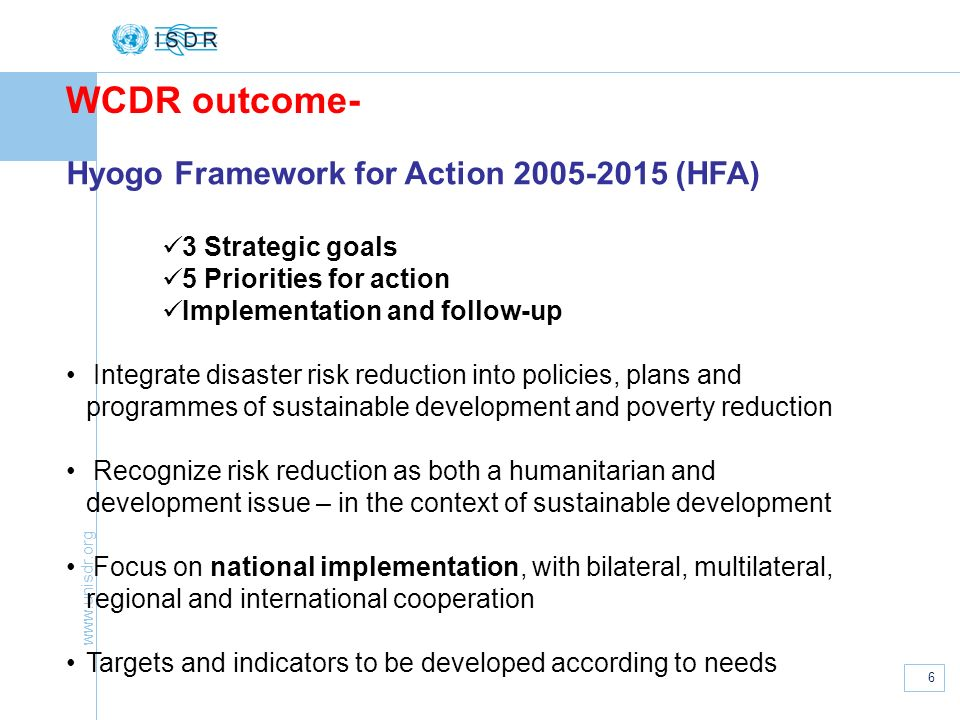 WCDR outcome- Hyogo Framework for Action (HFA)