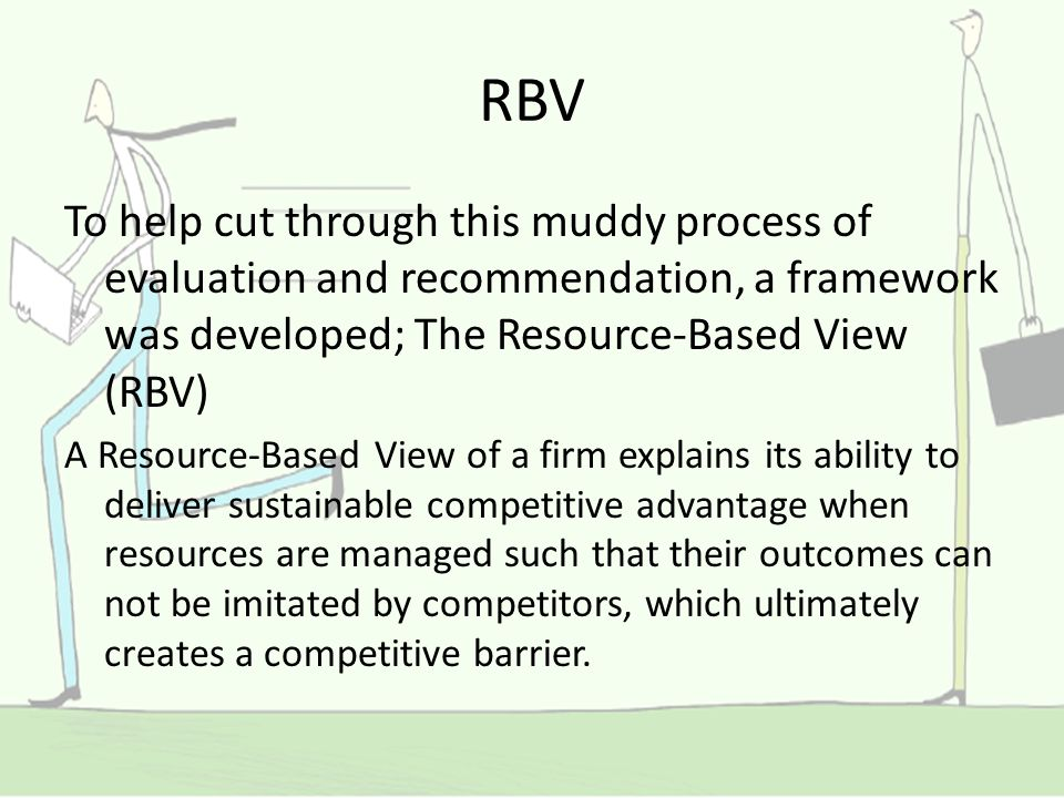 the resource based view rbv of the An evaluation of the impact of intrafirm resources, interfirm relationships, and   on firm-level performance and the resource-based view (rbv) as a lens through .