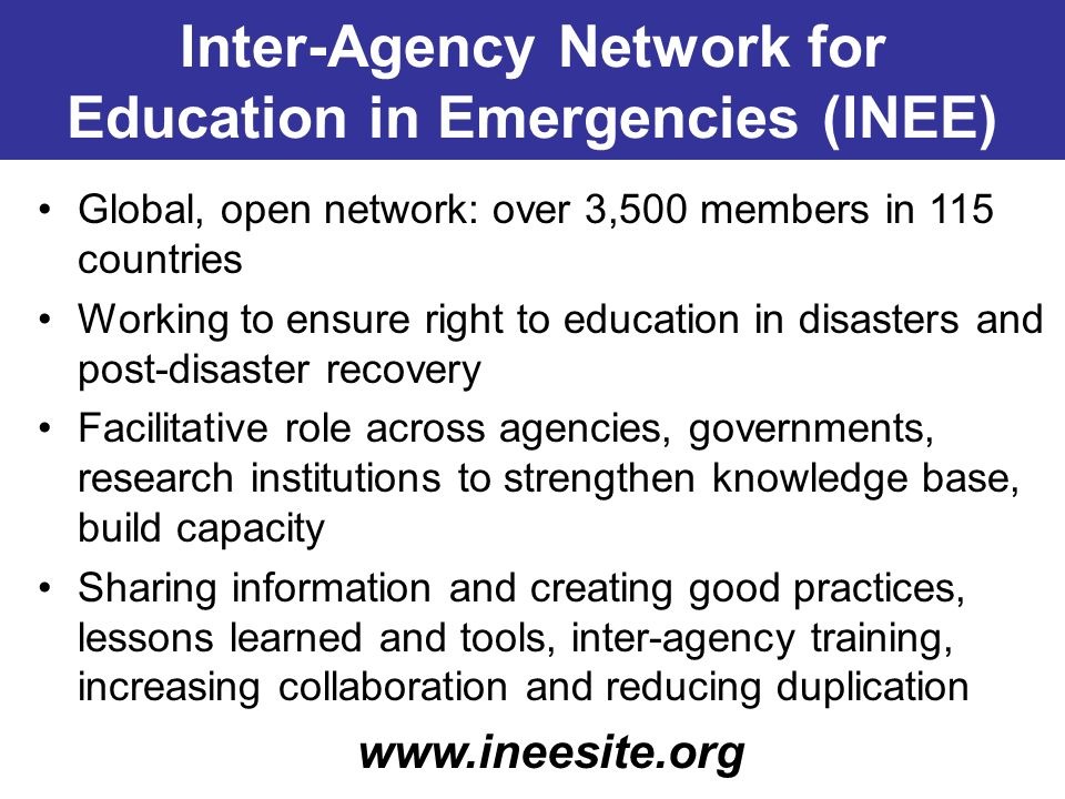 Inter-Agency Network for Education in Emergencies (INEE)