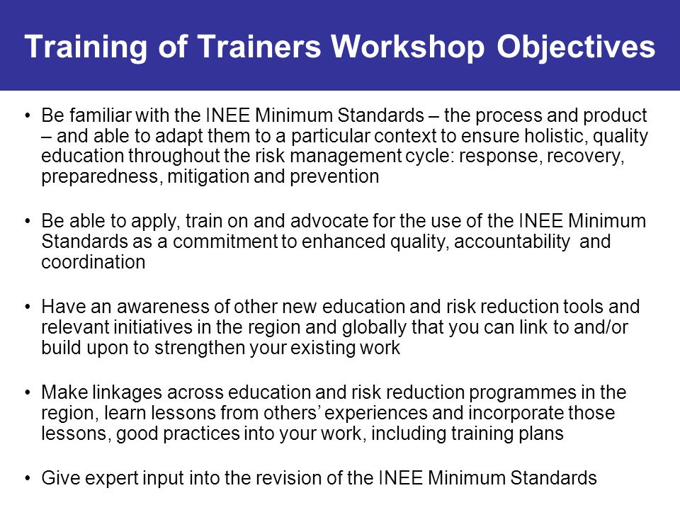Training of Trainers Workshop Objectives