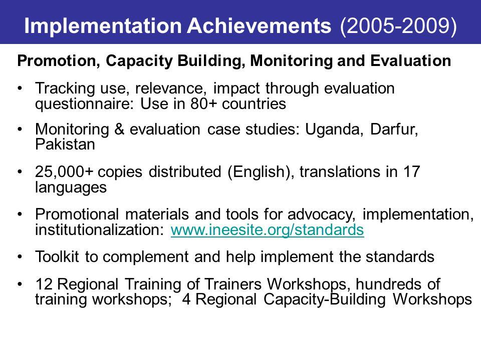 Implementation Achievements (2005-2009)