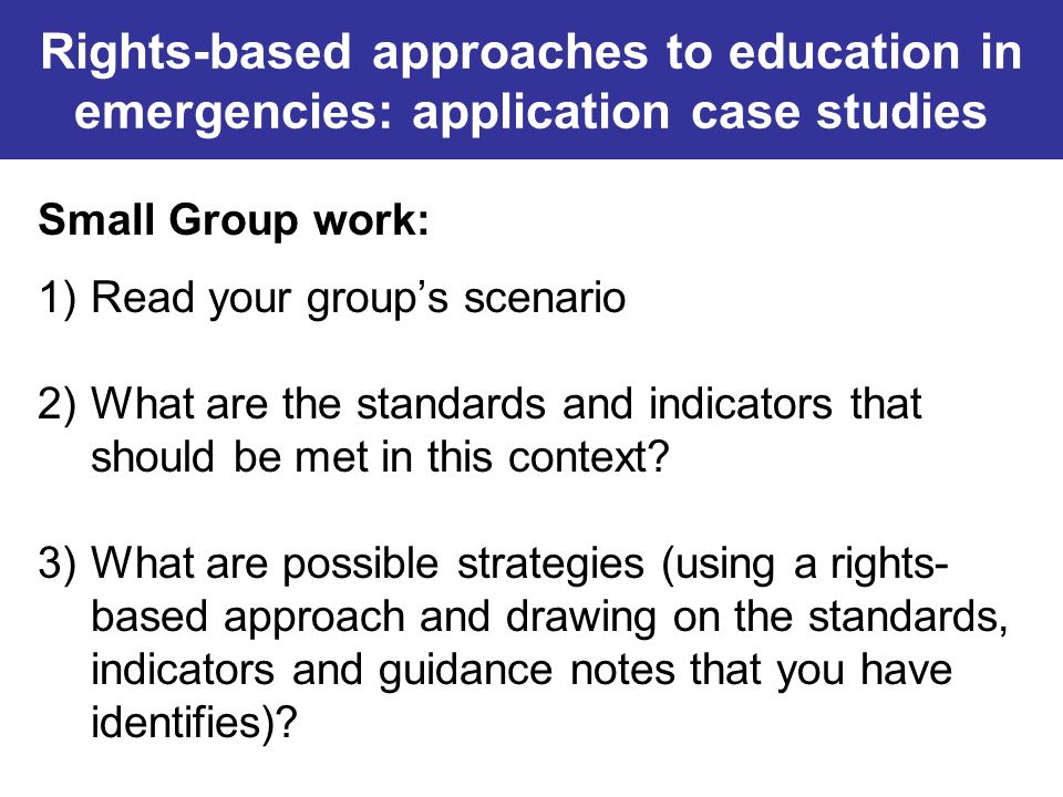 Rights-based approaches to education in emergencies: application case studies