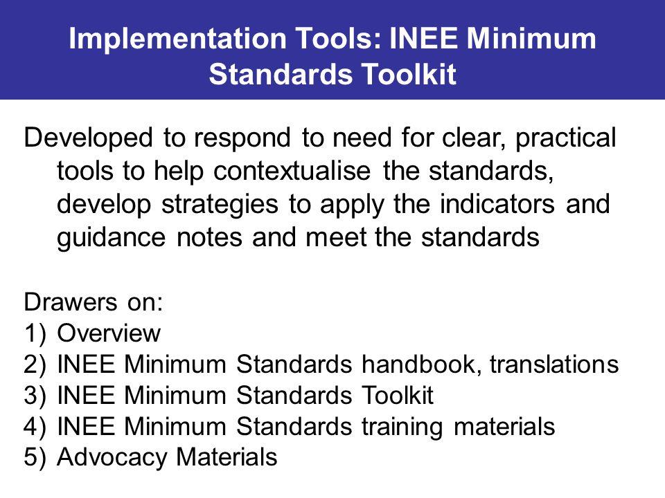 Implementation Tools: INEE Minimum Standards Toolkit
