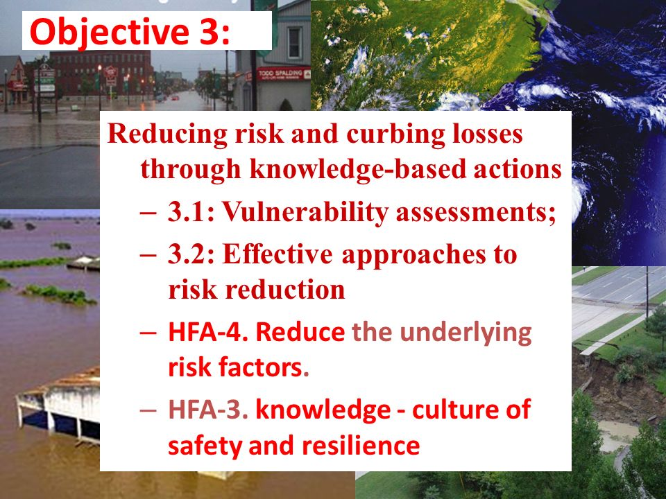 Objective 3: Reducing risk and curbing losses through knowledge-based actions. 3.1: Vulnerability assessments;