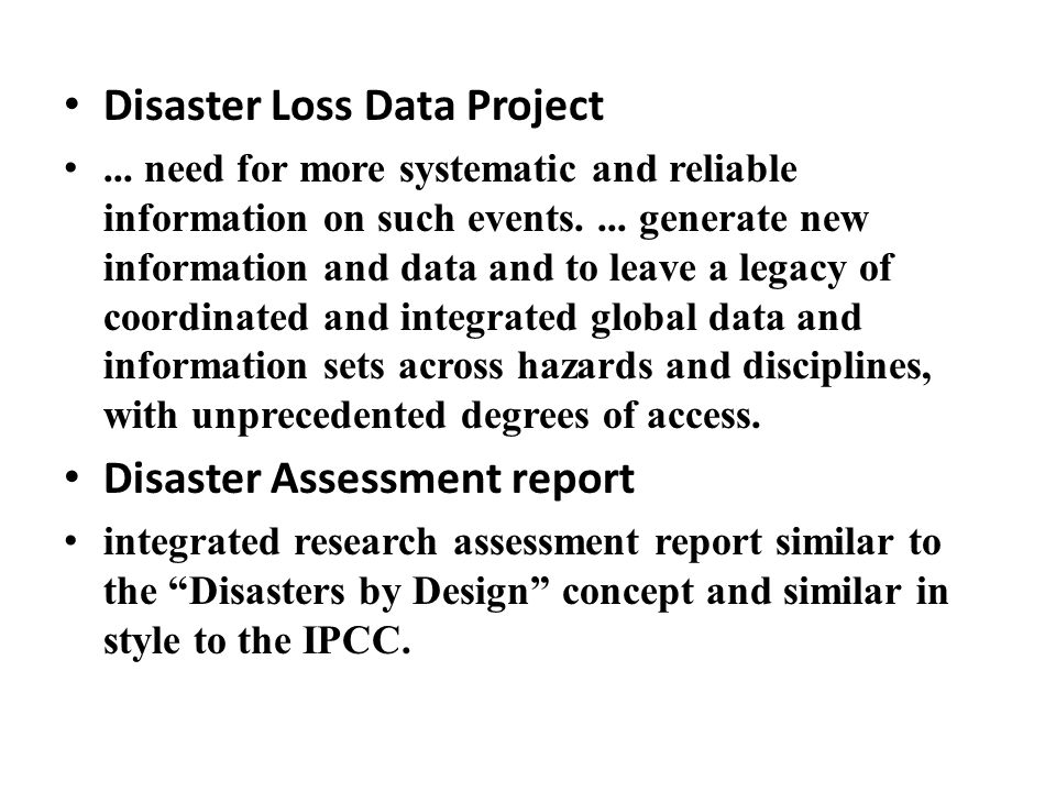 Disaster Loss Data Project