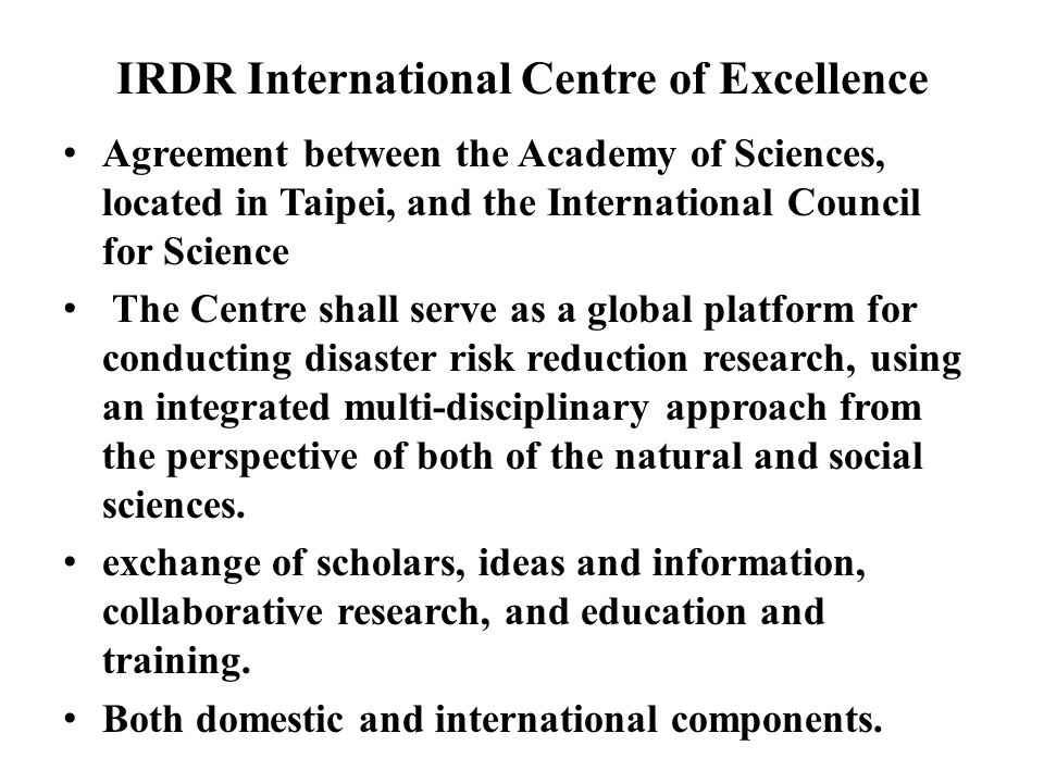 IRDR International Centre of Excellence