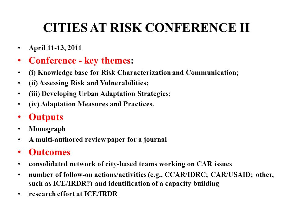 CITIES AT RISK CONFERENCE II