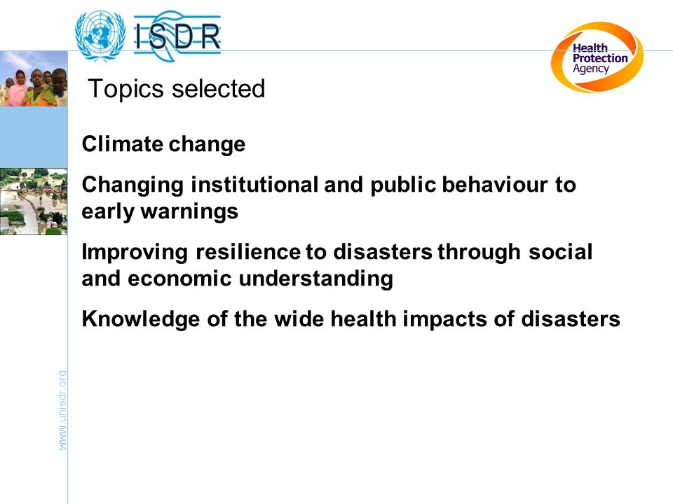 Topics selected Climate change