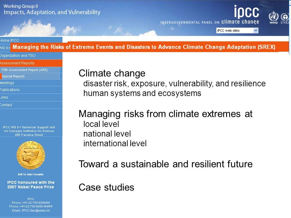 Managing risks from climate extremes at