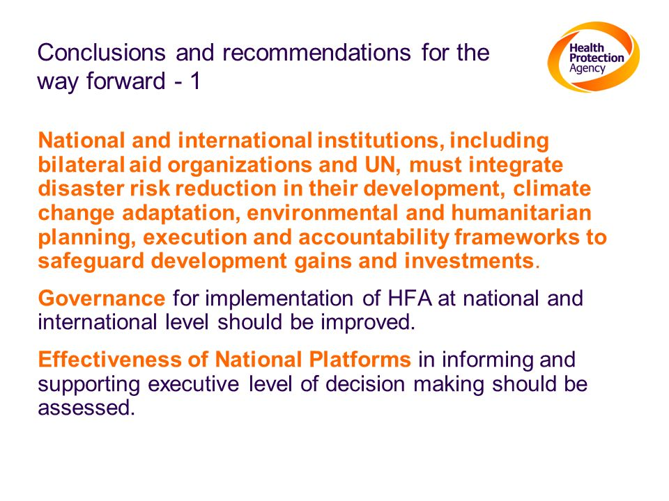 Conclusions and recommendations for the way forward - 1