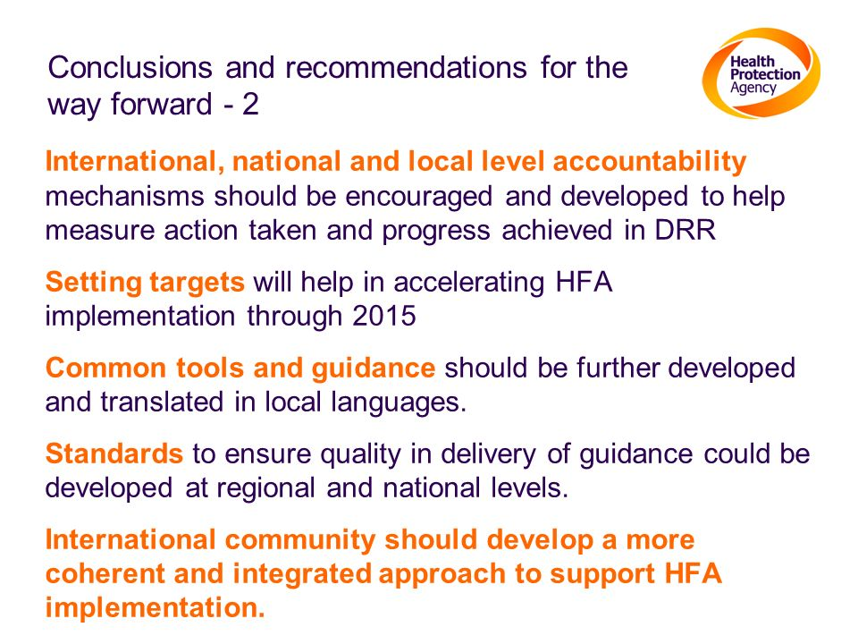 Conclusions and recommendations for the way forward - 2
