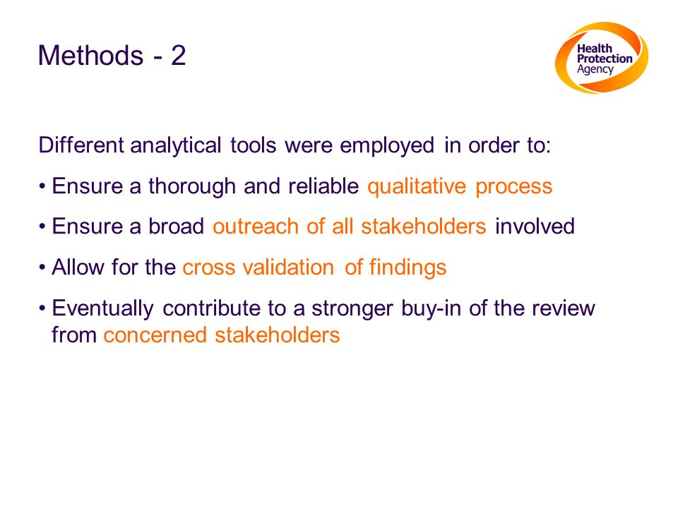 Methods - 2 Different analytical tools were employed in order to: