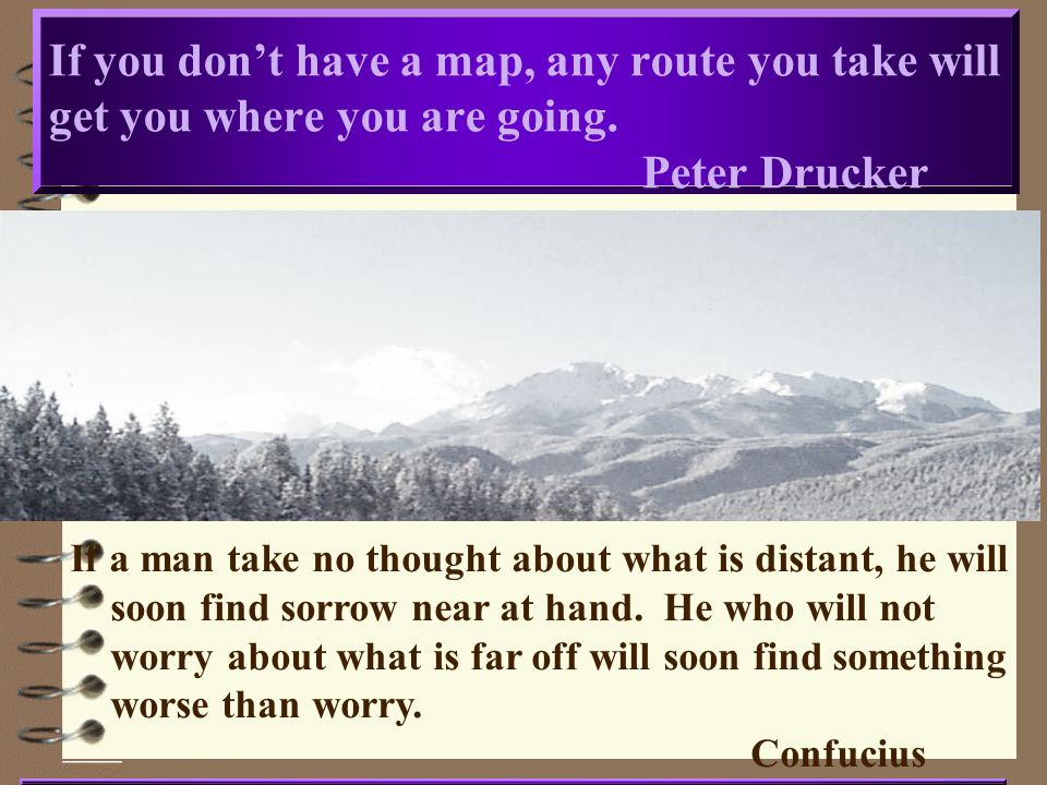If you don't have a map, any route you take will get you where you are going. Peter Drucker