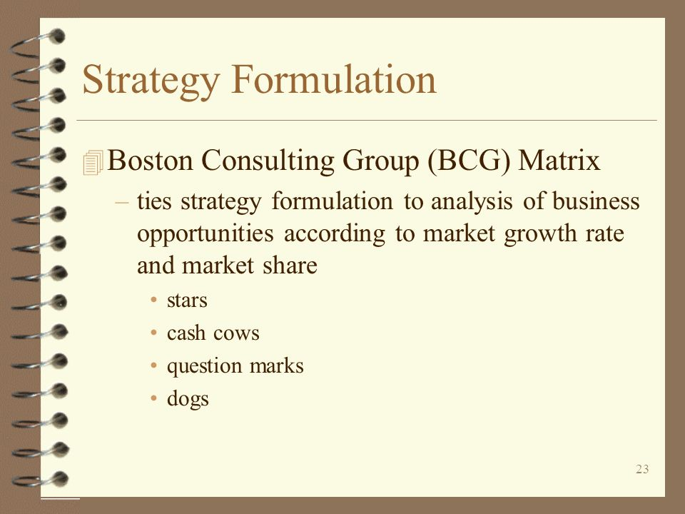 Strategy Formulation Boston Consulting Group (BCG) Matrix