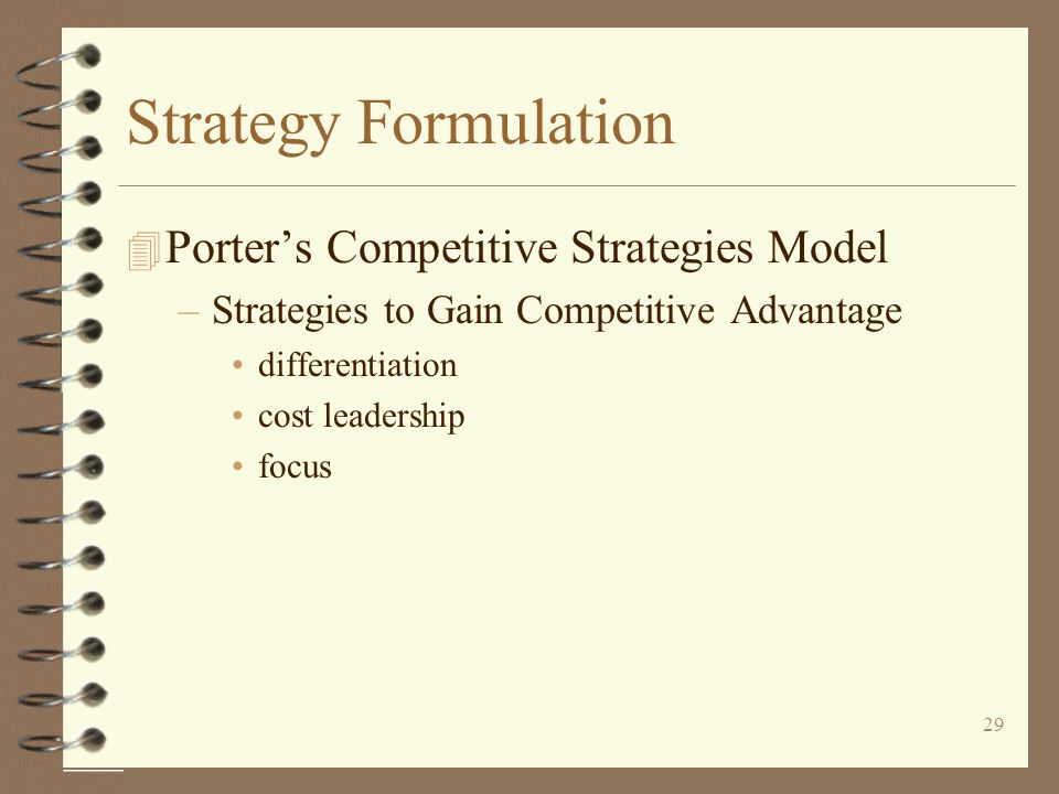 Strategy Formulation Porter's Competitive Strategies Model